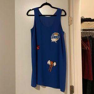 Blue mini dress, brand au jour le jour